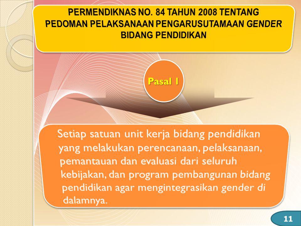 PERMENDIKNAS NO. 84 TAHUN 2008 TENTANG PEDOMAN PELAKSANAAN PENGARUSUTAMAAN GENDER BIDANG PENDIDIKAN