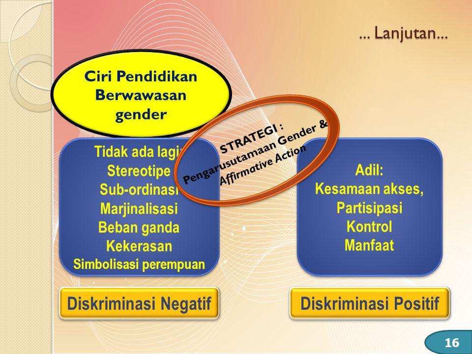 Ciri Pendidikan Berwawasan gender Simbolisasi perempuan