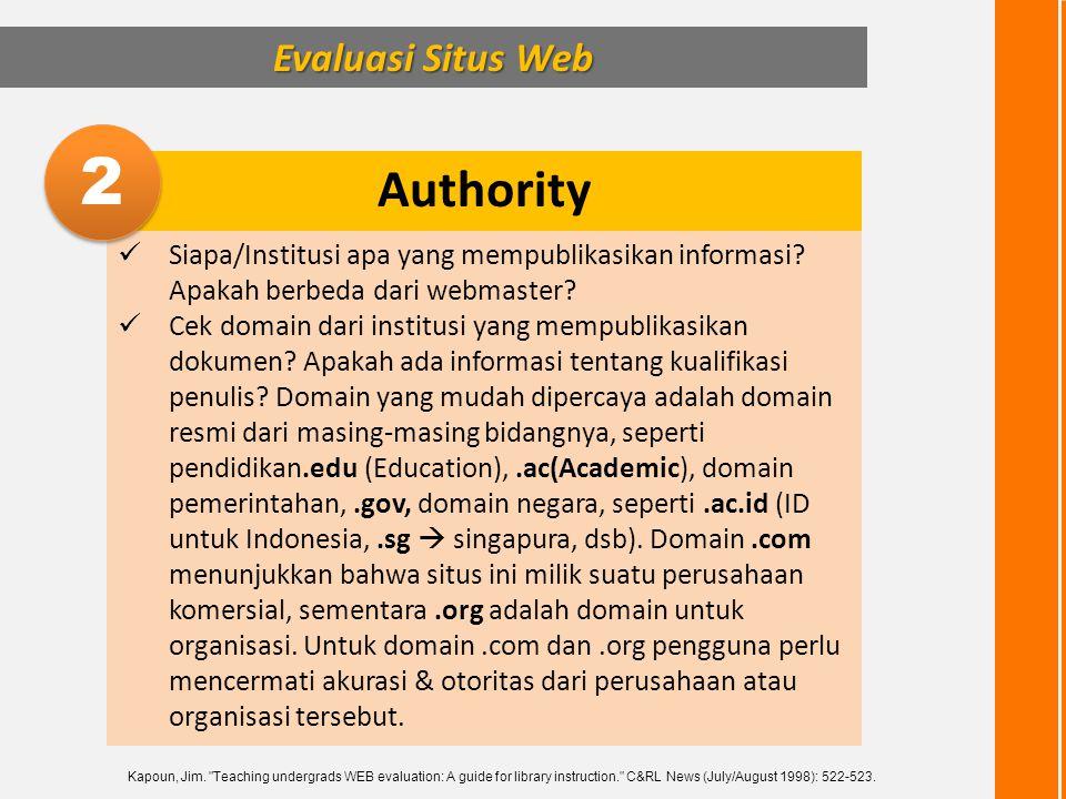 2 Authority Evaluasi Situs Web