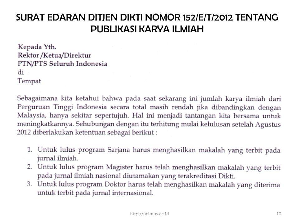 SURAT EDARAN DITJEN DIKTI NOMOR 152/E/T/2012 TENTANG PUBLIKASI KARYA ILMIAH