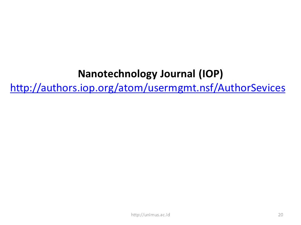 Nanotechnology Journal (IOP)