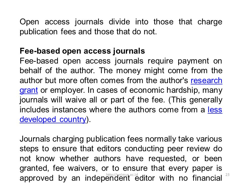 Fee-based open access journals