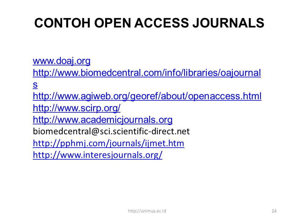 CONTOH OPEN ACCESS JOURNALS