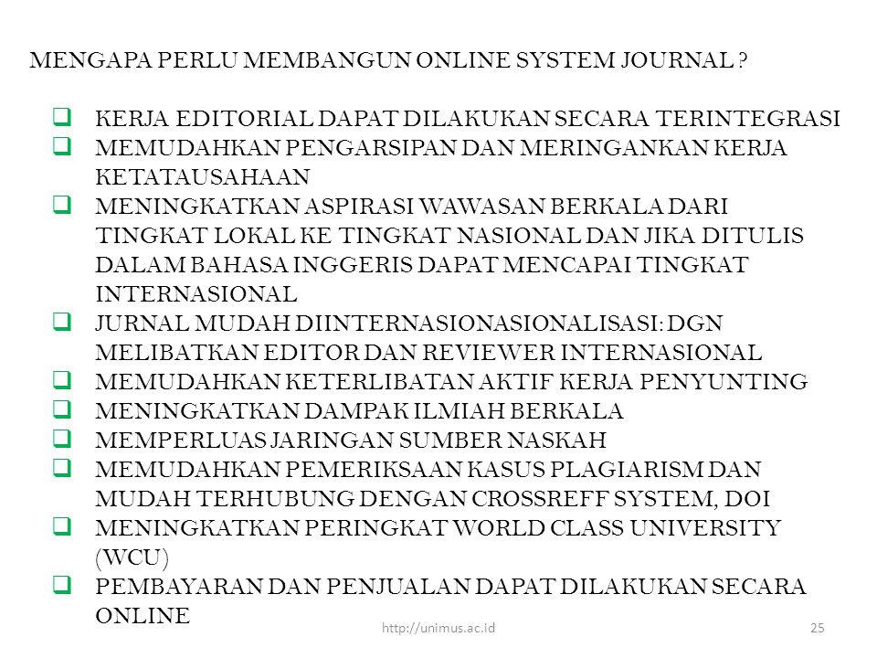 MENGAPA PERLU MEMBANGUN ONLINE SYSTEM JOURNAL