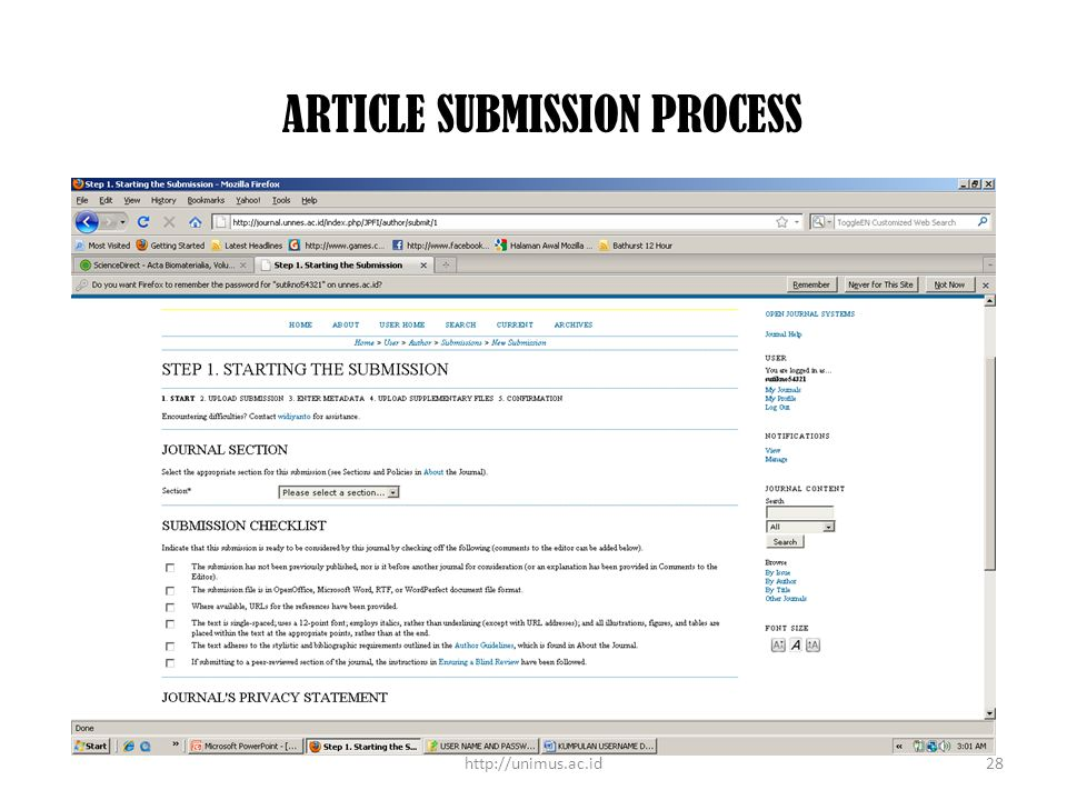 ARTICLE SUBMISSION PROCESS