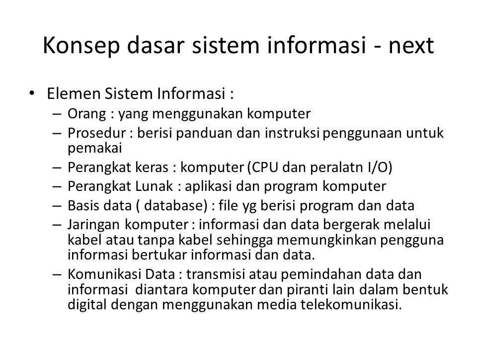 Konsep dasar sistem informasi - next