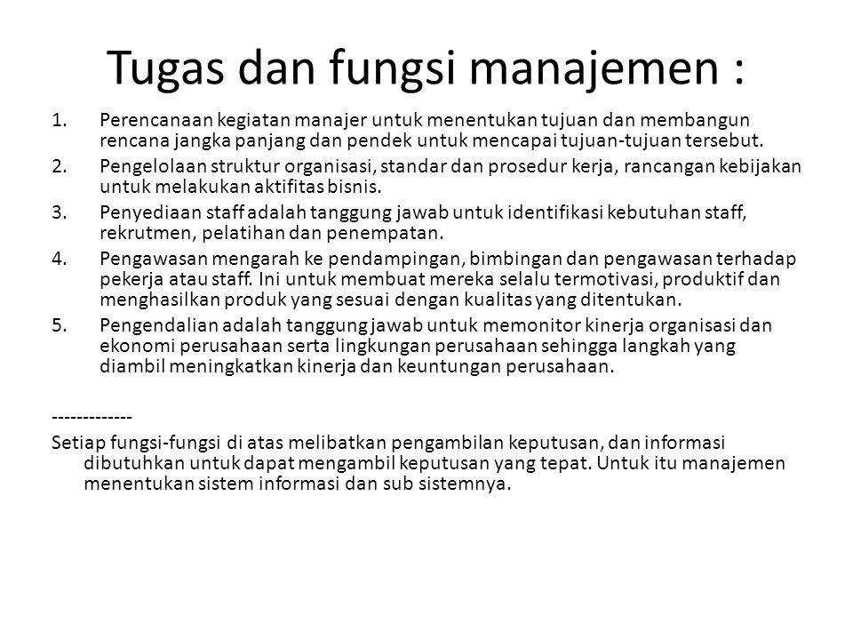 Tugas dan fungsi manajemen :