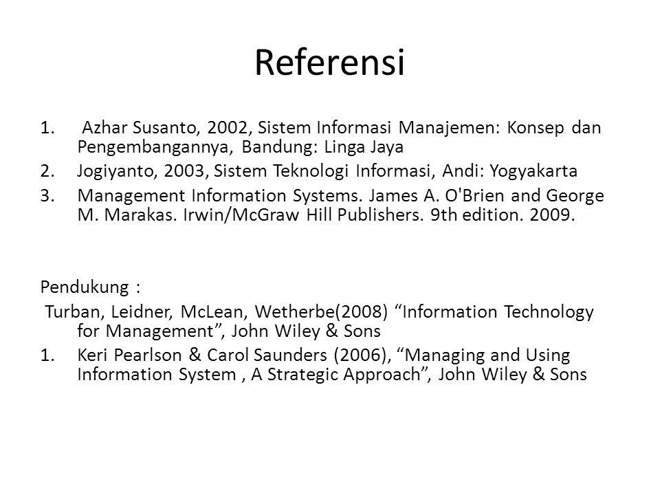 Referensi Azhar Susanto, 2002, Sistem Informasi Manajemen: Konsep dan Pengembangannya, Bandung: Linga Jaya.