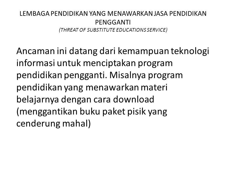 LEMBAGA PENDIDIKAN YANG MENAWARKAN JASA PENDIDIKAN PENGGANTI (THREAT OF SUBSTITUTE EDUCATIONS SERVICE)