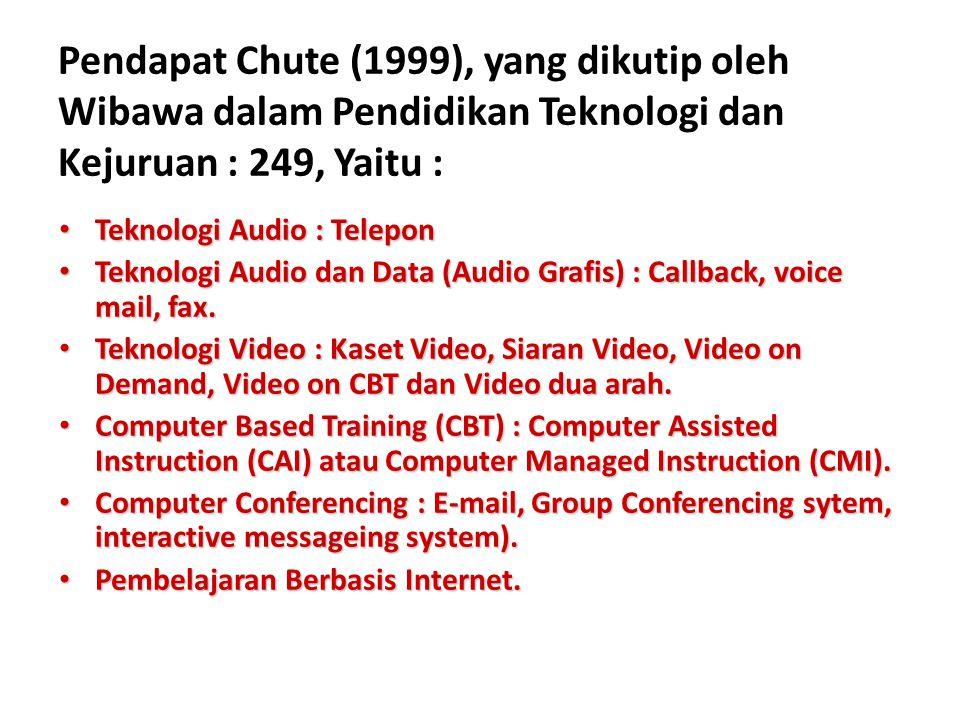 Pendapat Chute (1999), yang dikutip oleh Wibawa dalam Pendidikan Teknologi dan Kejuruan : 249, Yaitu :