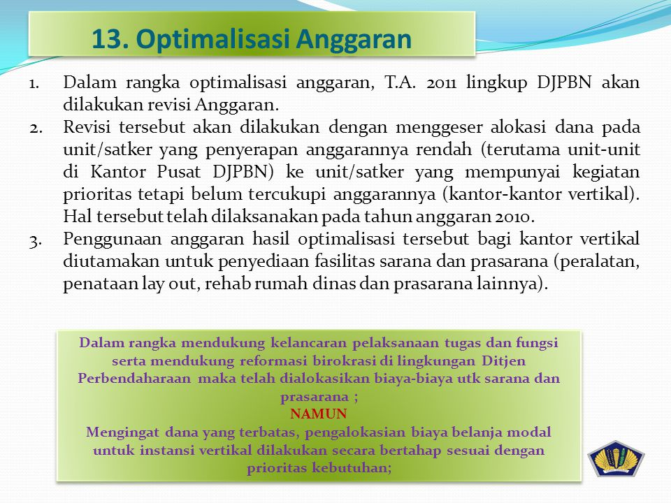 13. Optimalisasi Anggaran