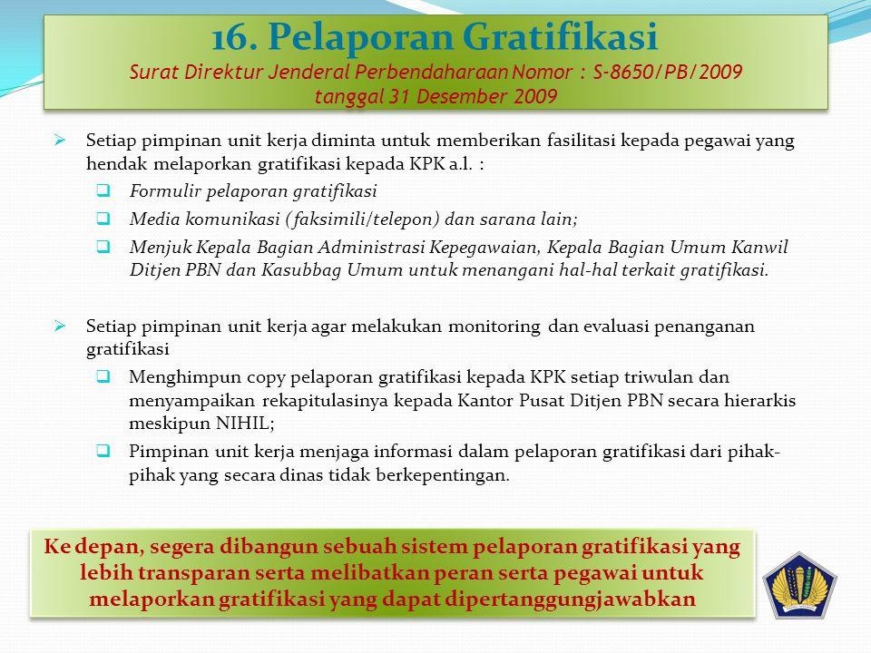16. Pelaporan Gratifikasi Surat Direktur Jenderal Perbendaharaan Nomor : S-8650/PB/2009 tanggal 31 Desember 2009