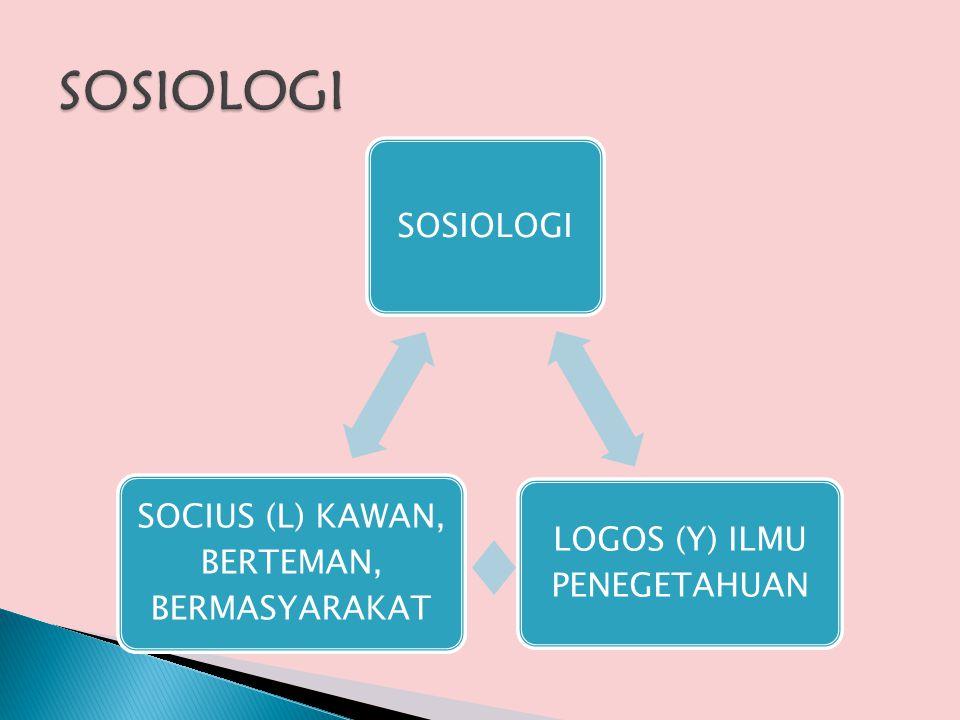 SOSIOLOGI SOSIOLOGI LOGOS (Y) ILMU PENEGETAHUAN