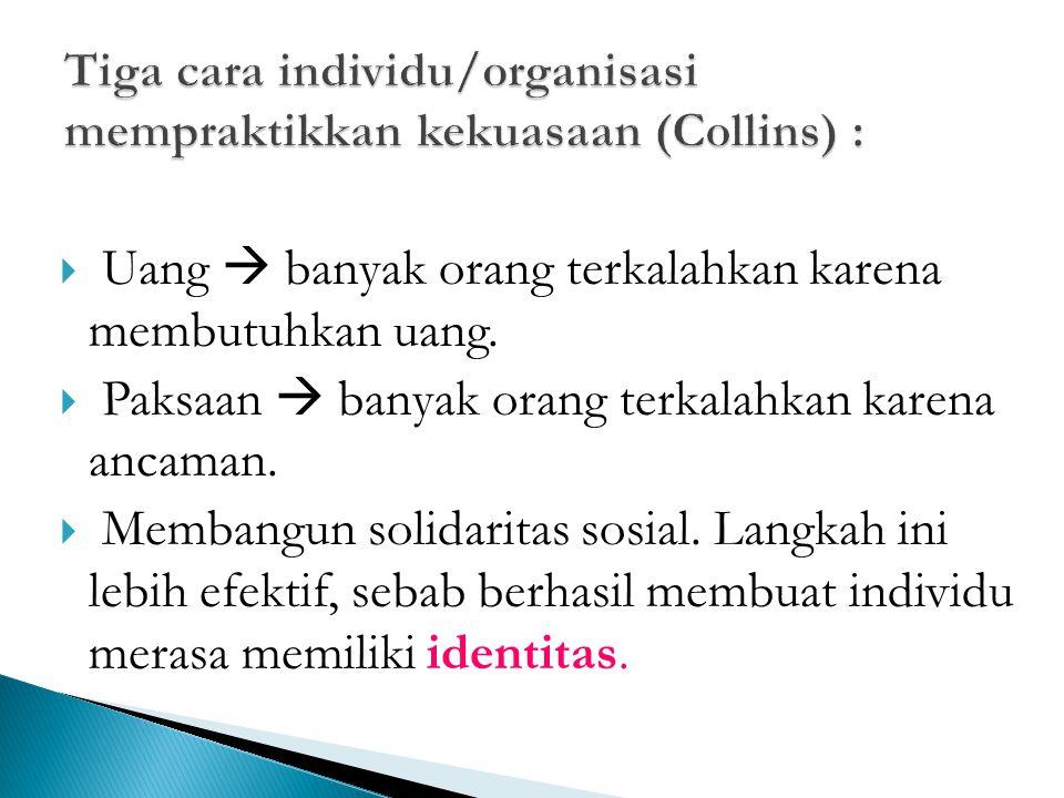 Tiga cara individu/organisasi mempraktikkan kekuasaan (Collins) :