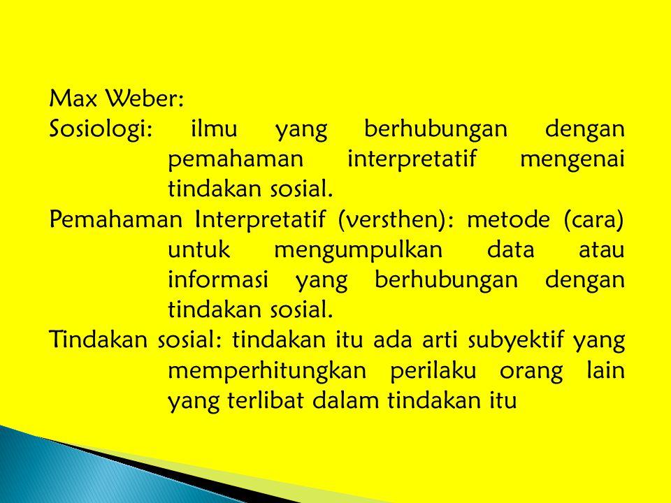Max Weber: Sosiologi: ilmu yang berhubungan dengan pemahaman interpretatif mengenai tindakan sosial.