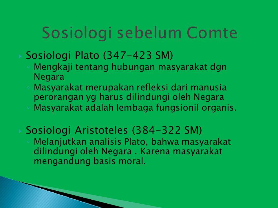 Sosiologi sebelum Comte