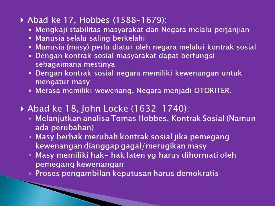 Abad ke 18, John Locke (1632-1740): Abad ke 17, Hobbes (1588-1679):