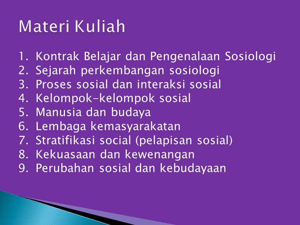 Materi Kuliah Kontrak Belajar dan Pengenalaan Sosiologi