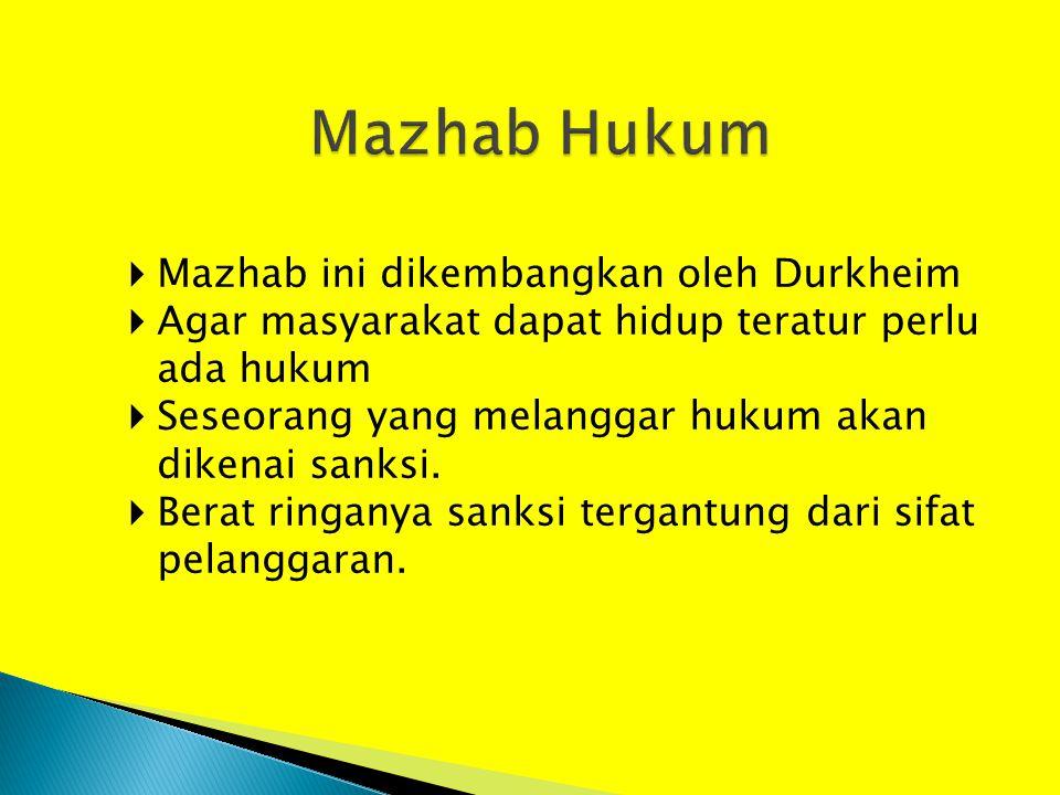 Mazhab Hukum Mazhab ini dikembangkan oleh Durkheim