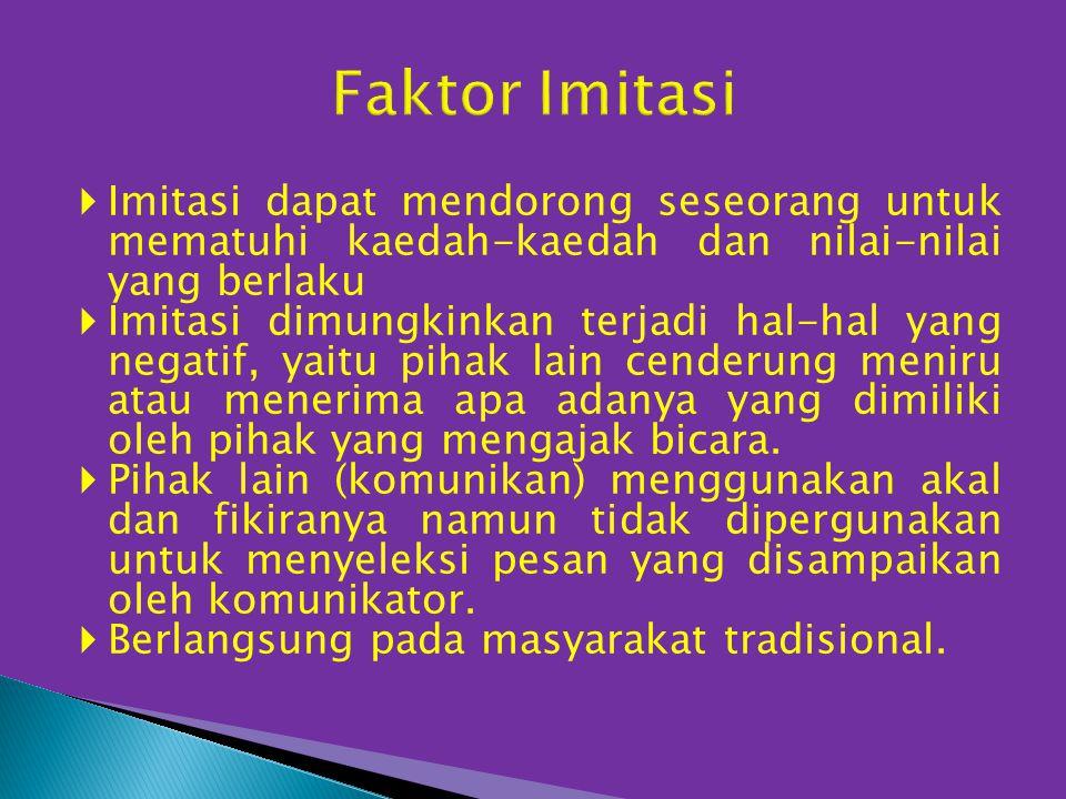 Faktor Imitasi Imitasi dapat mendorong seseorang untuk mematuhi kaedah-kaedah dan nilai-nilai yang berlaku.