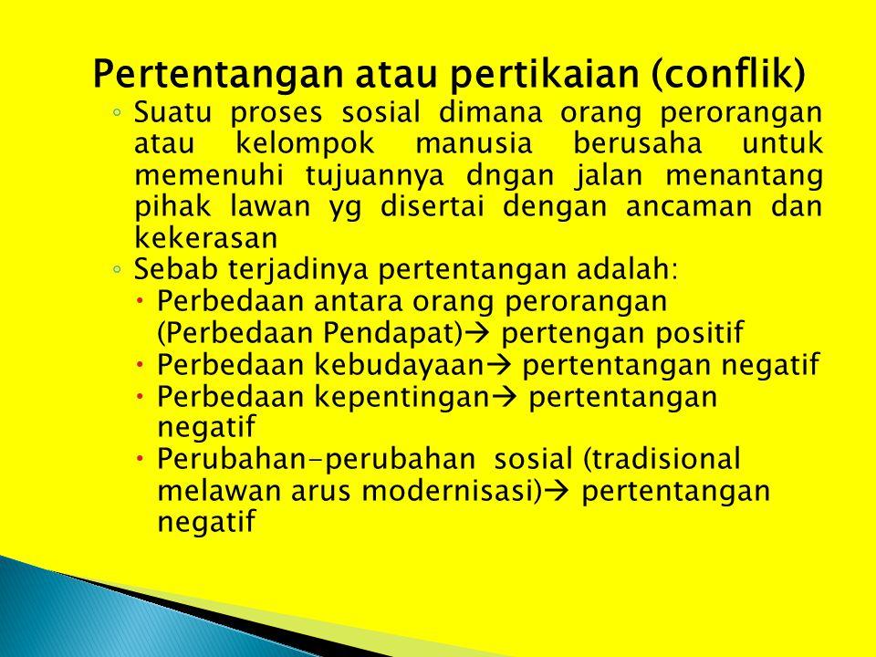 Pertentangan atau pertikaian (conflik)
