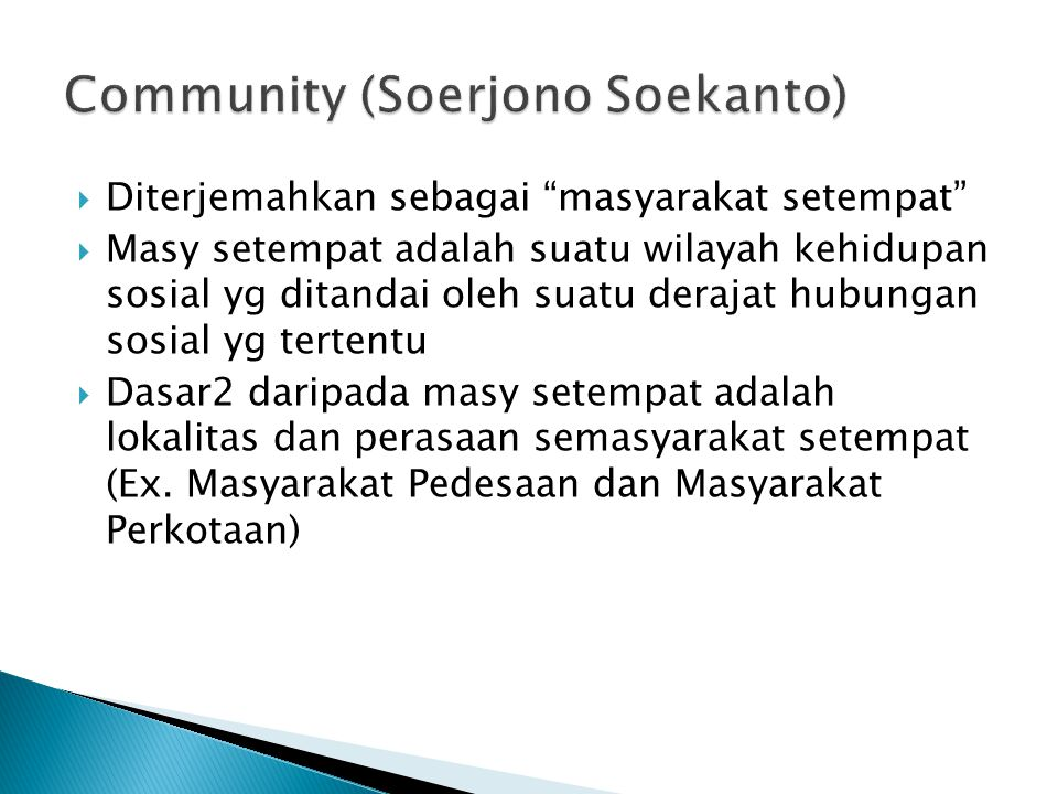Community (Soerjono Soekanto)