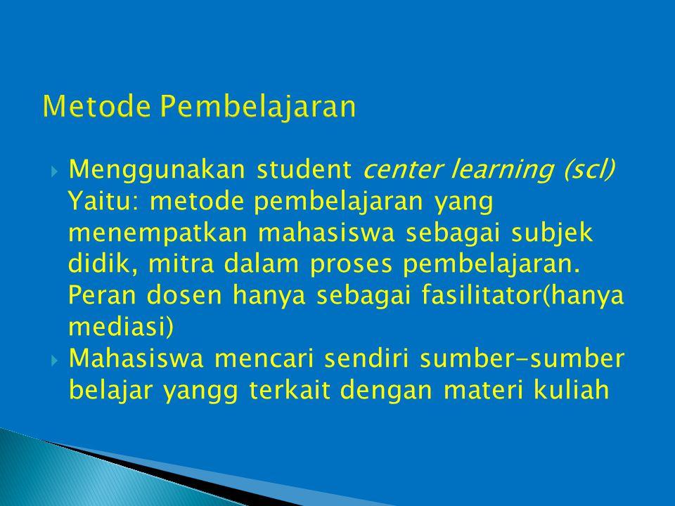 Metode Pembelajaran Menggunakan student center learning (scl)