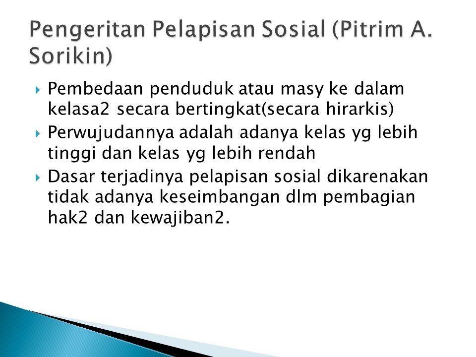 Pengeritan Pelapisan Sosial (Pitrim A. Sorikin)