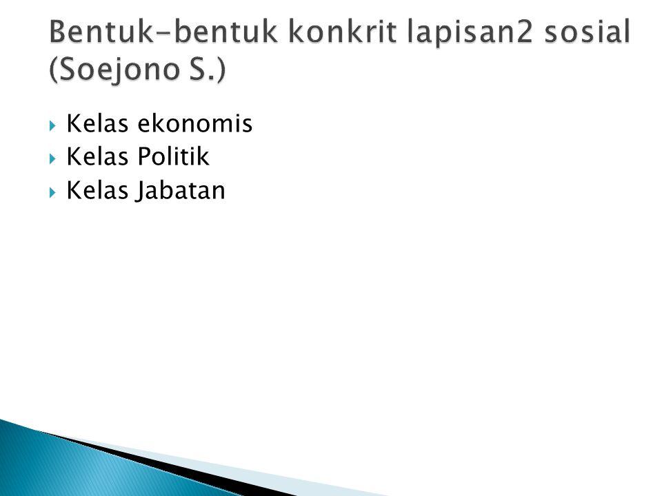 Bentuk-bentuk konkrit lapisan2 sosial (Soejono S.)