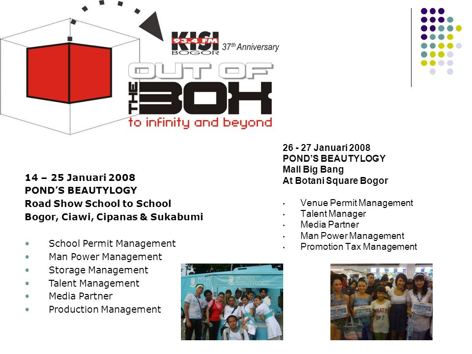 26 - 27 Januari 2008 POND'S BEAUTYLOGY. Mall Big Bang. At Botani Square Bogor. Venue Permit Management.