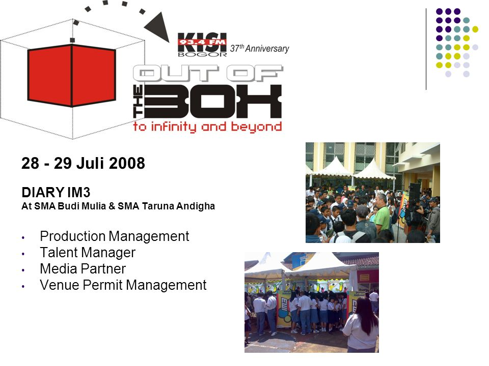 Tahun 2008 28 - 29 Juli 2008 DIARY IM3 Production Management