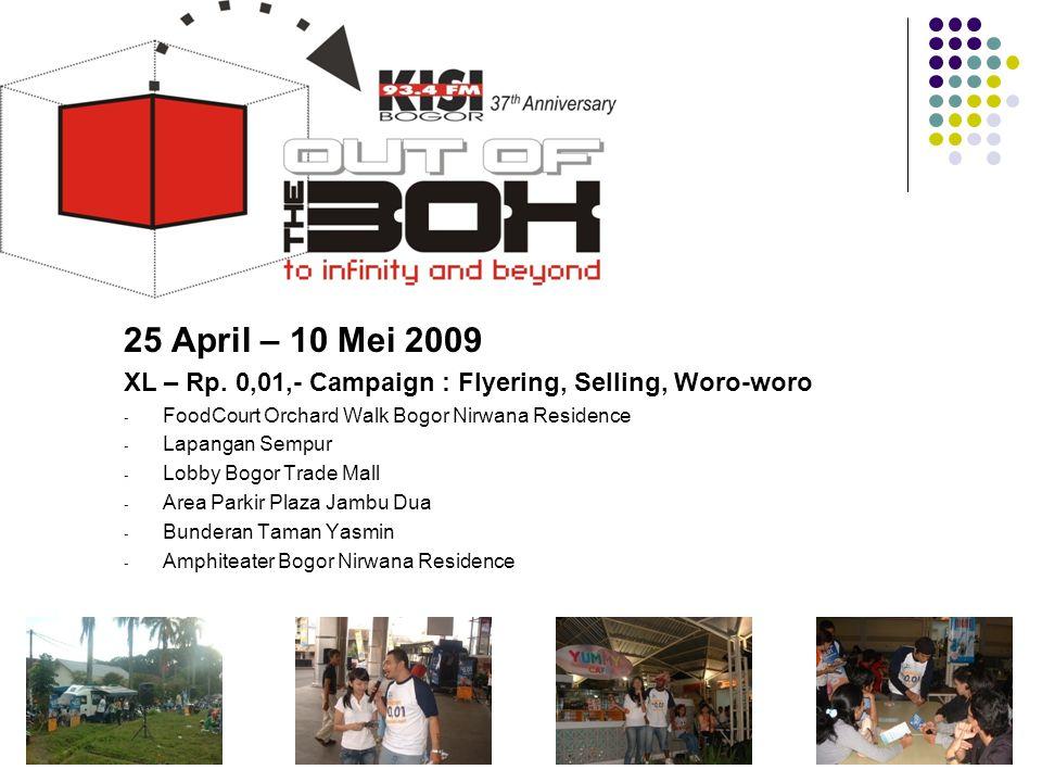 Tahun 2009 25 April – 10 Mei 2009. XL – Rp. 0,01,- Campaign : Flyering, Selling, Woro-woro. FoodCourt Orchard Walk Bogor Nirwana Residence.