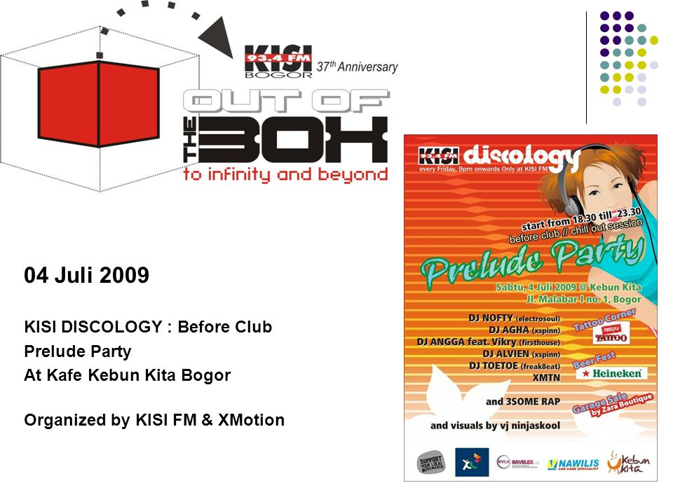 Tahun 2009 04 Juli 2009 KISI DISCOLOGY : Before Club Prelude Party