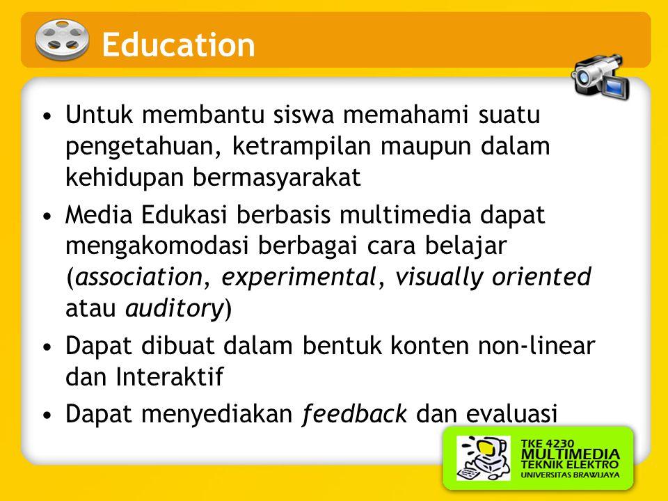 Education Untuk membantu siswa memahami suatu pengetahuan, ketrampilan maupun dalam kehidupan bermasyarakat.