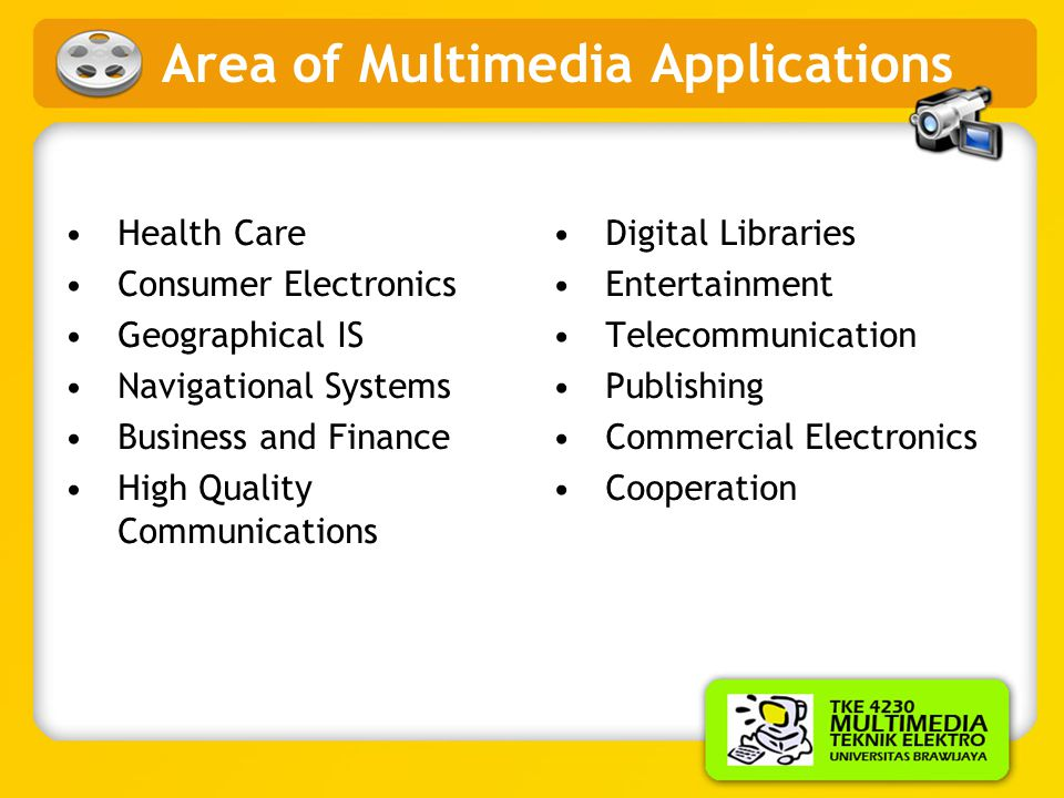 Area of Multimedia Applications