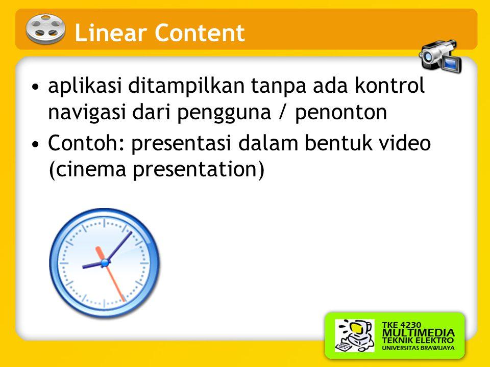 Linear Content aplikasi ditampilkan tanpa ada kontrol navigasi dari pengguna / penonton.
