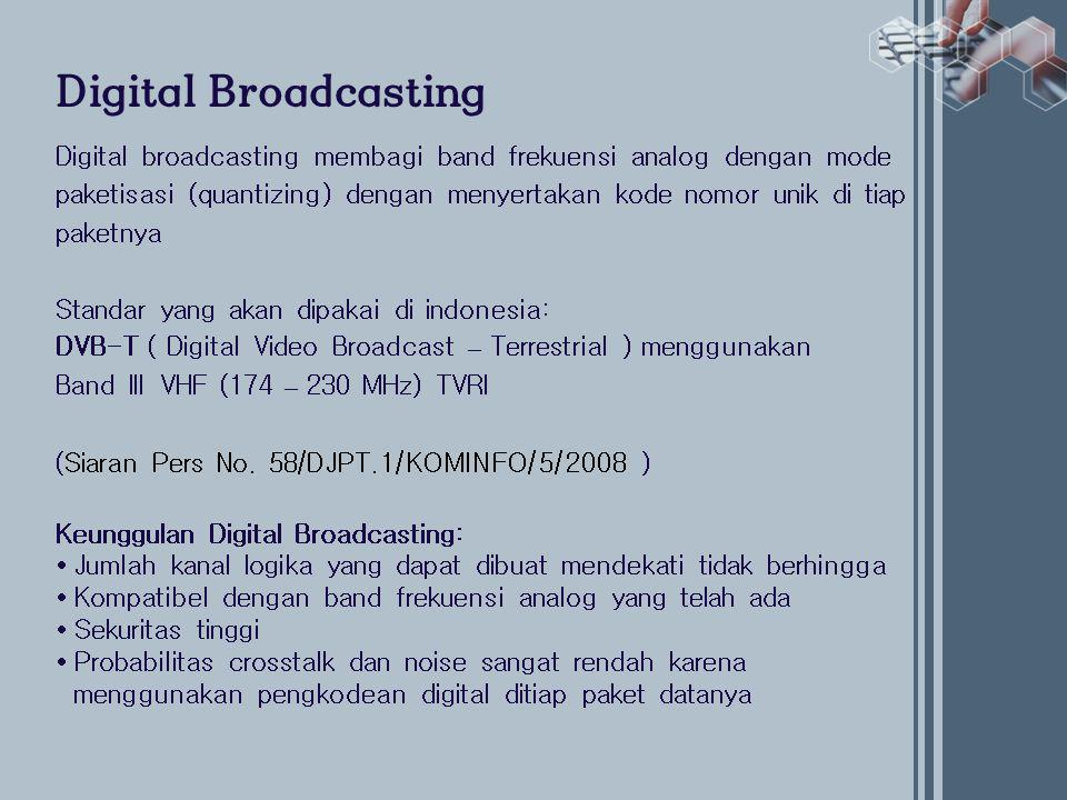 Digital Broadcasting Digital broadcasting membagi band frekuensi analog dengan mode.