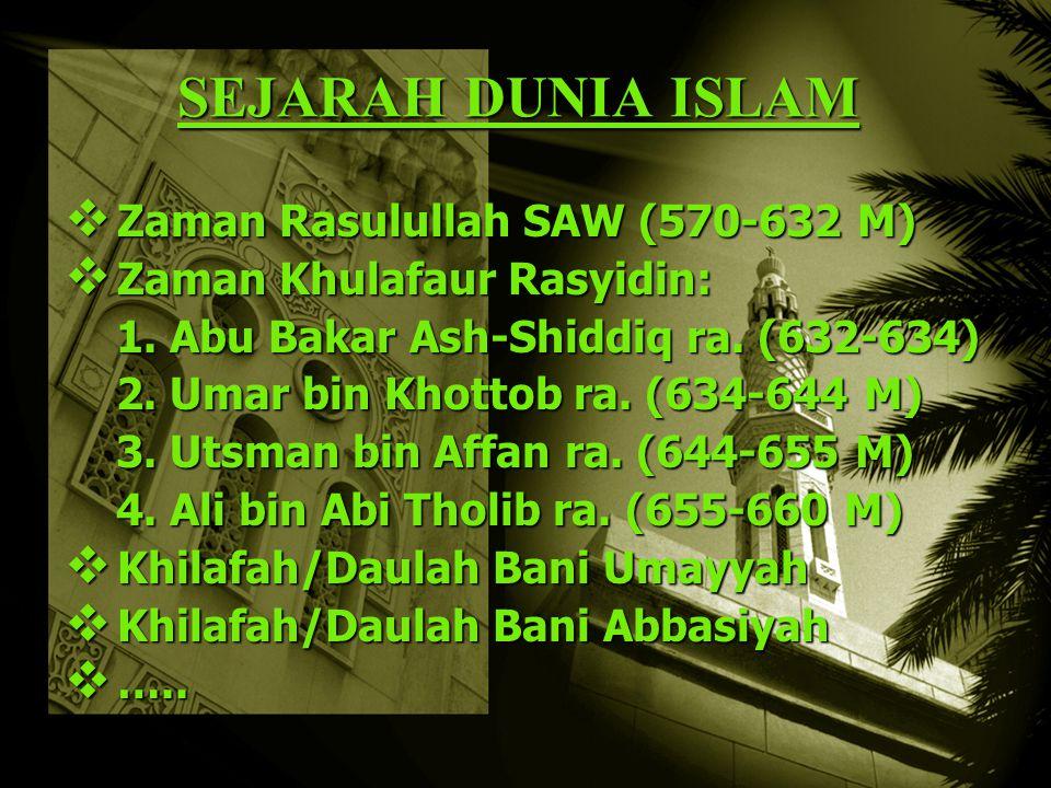 SEJARAH DUNIA ISLAM Zaman Rasulullah SAW (570-632 M)