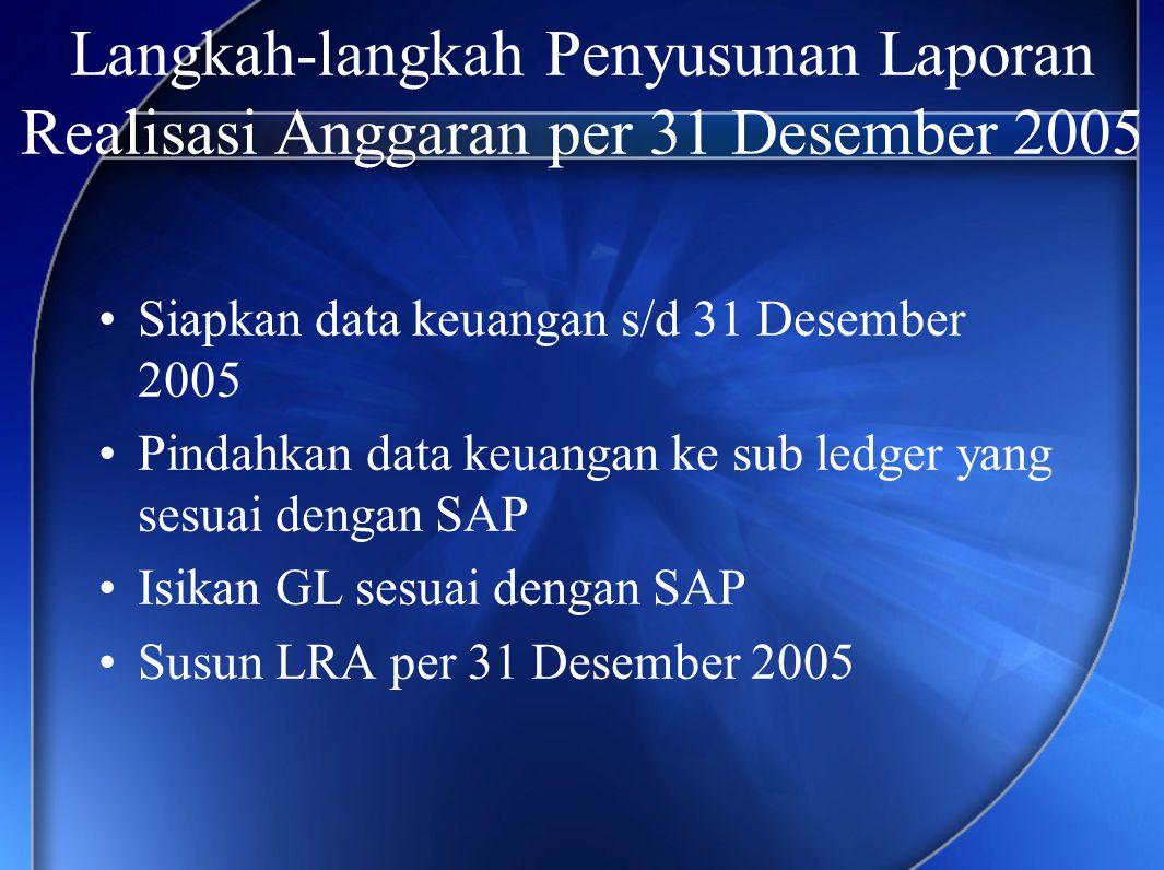Langkah-langkah Penyusunan Laporan Realisasi Anggaran per 31 Desember 2005
