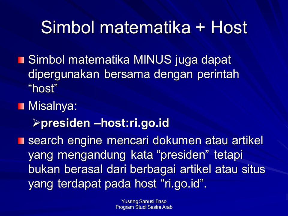 Simbol matematika + Host