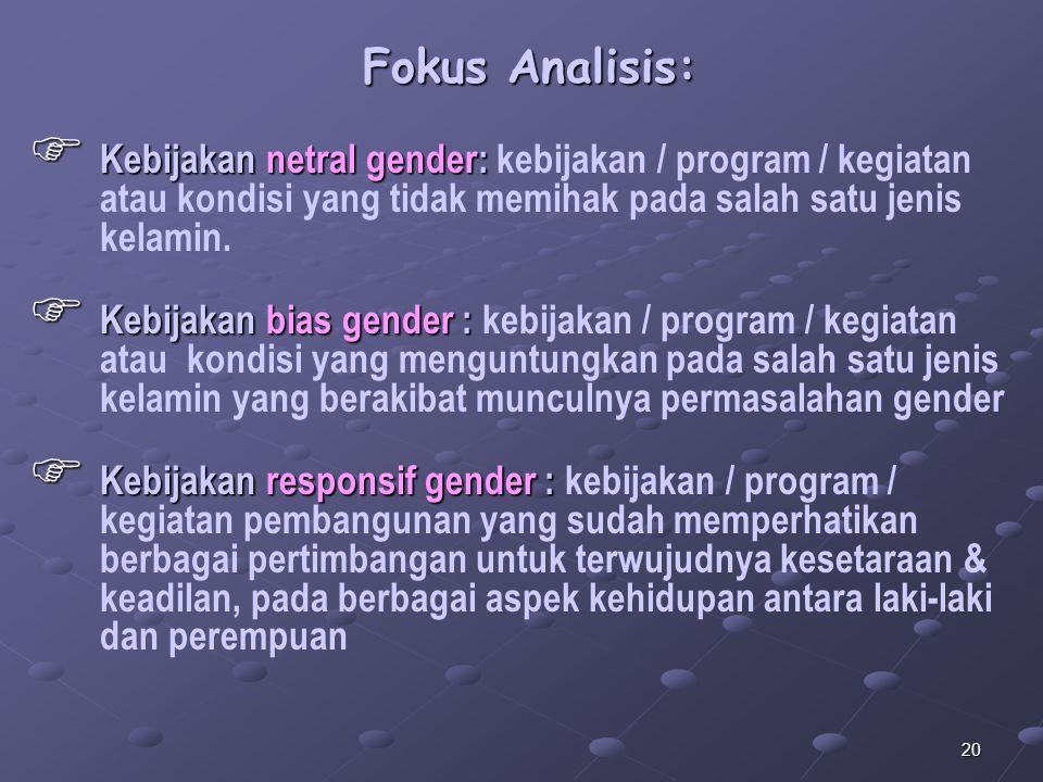 Fokus Analisis: Kebijakan netral gender: kebijakan / program / kegiatan atau kondisi yang tidak memihak pada salah satu jenis kelamin.