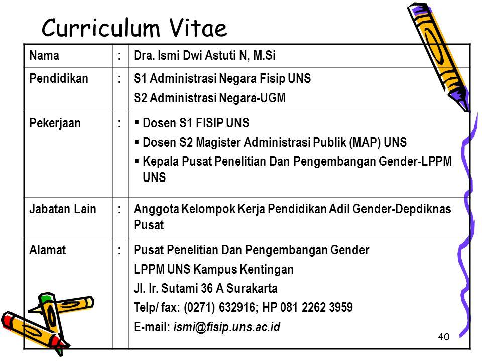 Curriculum Vitae Nama : Dra. Ismi Dwi Astuti N, M.Si Pendidikan
