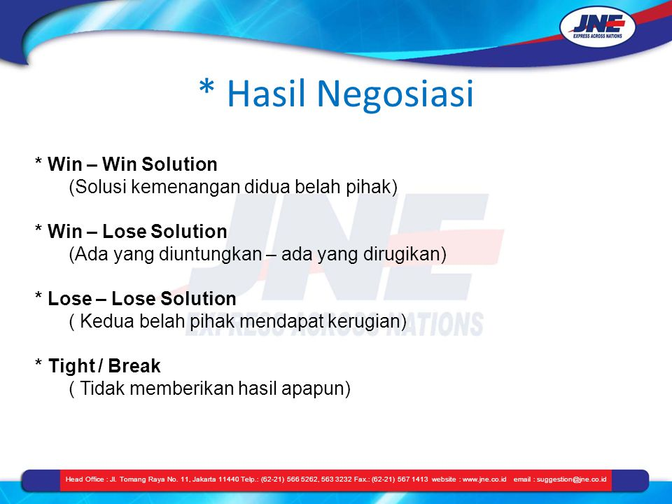 * Hasil Negosiasi * Win – Win Solution
