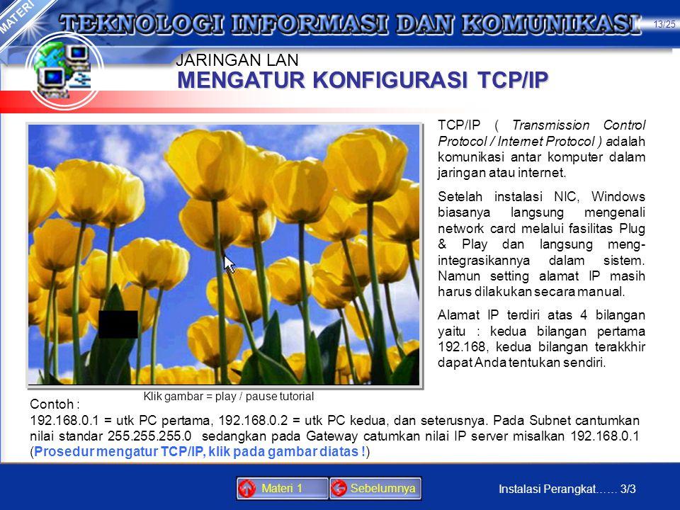 MENGATUR KONFIGURASI TCP/IP