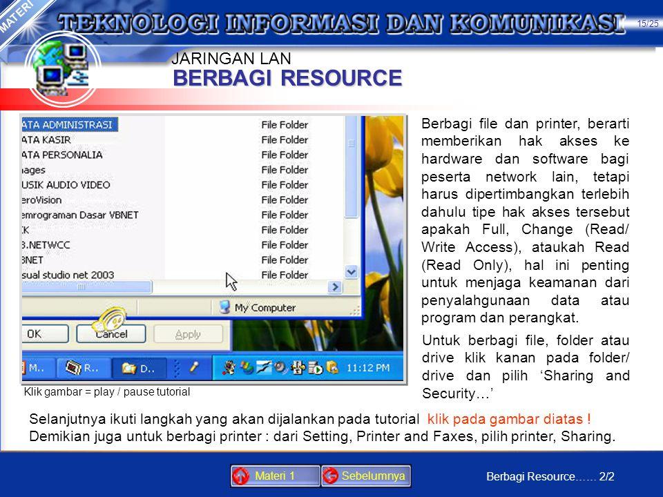 BERBAGI RESOURCE JARINGAN LAN