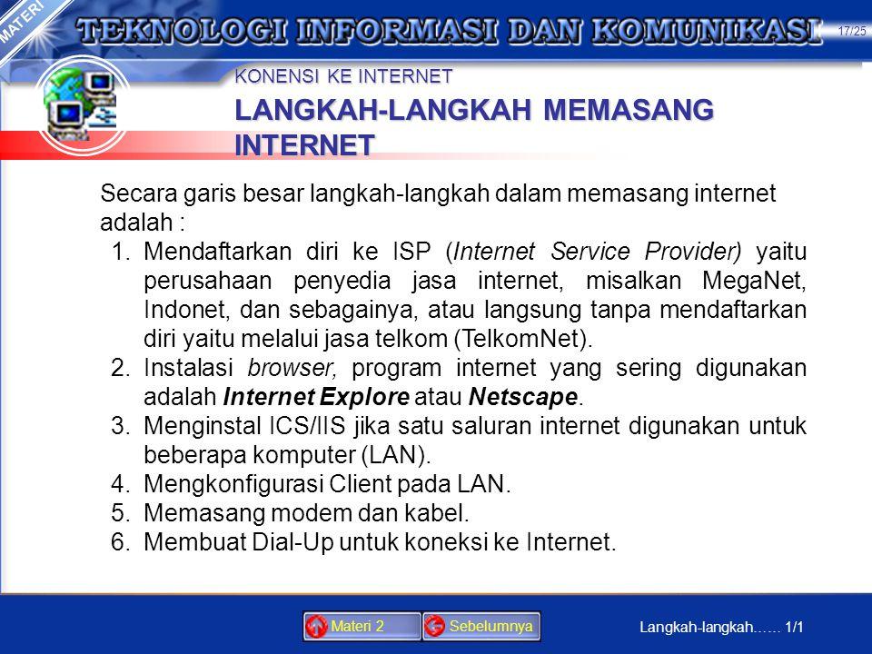 LANGKAH-LANGKAH MEMASANG INTERNET