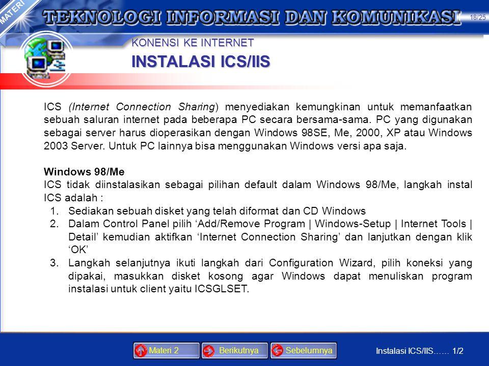 INSTALASI ICS/IIS KONENSI KE INTERNET
