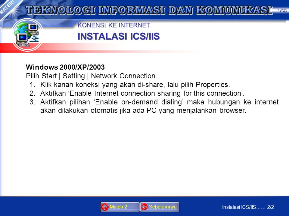 INSTALASI ICS/IIS Windows 2000/XP/2003