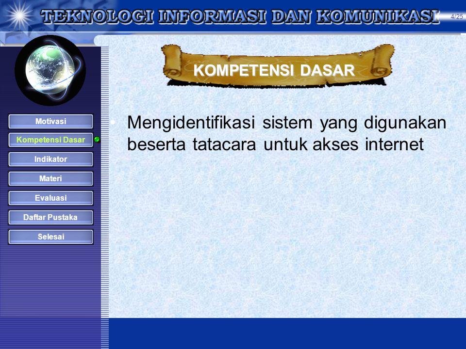 4/25 KOMPETENSI DASAR. Mengidentifikasi sistem yang digunakan beserta tatacara untuk akses internet.