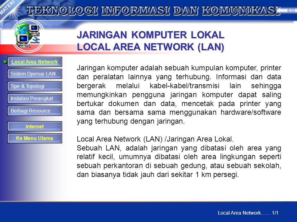 JARINGAN KOMPUTER LOKAL LOCAL AREA NETWORK (LAN)